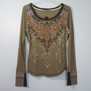 NWT Miss Me Olive Long Sleeve Bling Top